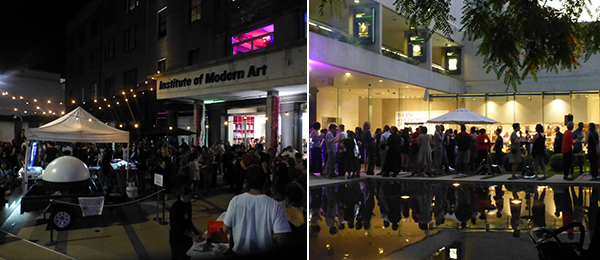 Left: Institute of Modern Art's fortieth anniversary party. Right: APT8 Pre-opening Artists Barbecue at QAGOMA.