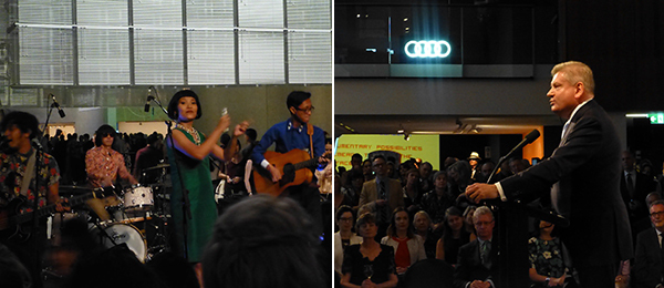 Left: White Shoes & The Couples Company perform at the APT8 opening. Right: Minister for the Arts Mitch Fifield addresses the crowd.