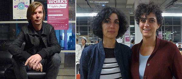 Left: Documenta 14 artistic director Adam Szymczyk. Right: Artists Natascha Sadr Haghighian and Setareh Shahbazi.