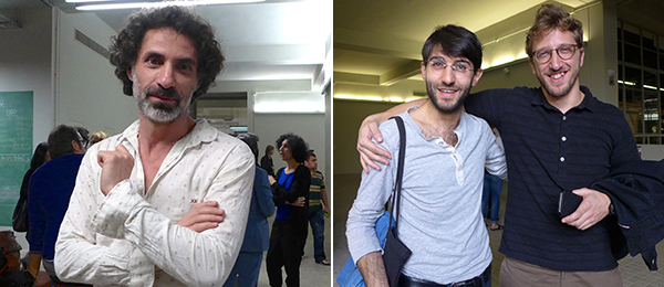 Left: Artist Rabih Mroué. Right: Artists Maxime Hourani and Lawrence Abu Hamdan.