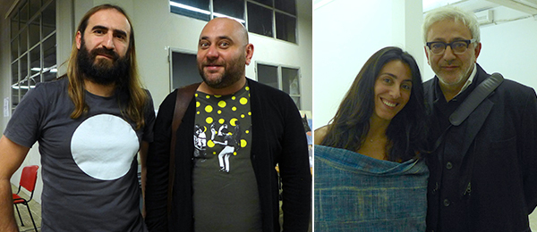 Left: Artists Vartan Avakian and Raed Yassin. Right: Dealer Joumana Asseily with filmmaker Elia Suleiman.