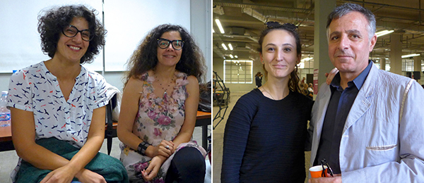 Left: MuCEM's Samar Kedhy with Khadija El Bennaoui of Kunstencentrum Vooruit. Right: Curator Zeynep Oz with artist Khalil Rabah.