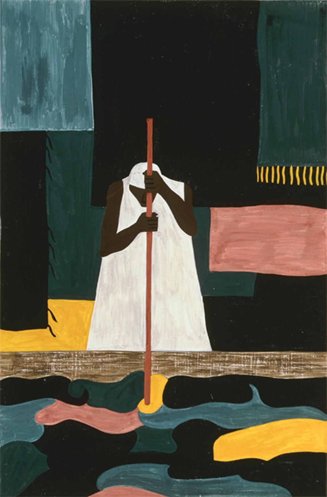 "Jacob Lawrence, The Migration Series Panel No. 57: ""The female workers were the last to arrive north,"" 1940–41, casein tempera on hardboard, 18 × 12""."