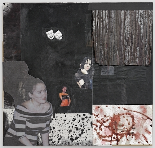 "Darja Bajagić, I am a bobo doll (the clown blowup dolls with the sand in the bottom, you hit them and they fall sideways to the floor but bounce back up...problem is leaks occur,, 2015, acrylic, canvas, cardboard, cow's blood, ink, paper prints, plastic drop-cloth, stage blood, UV print, 35 x 36""."