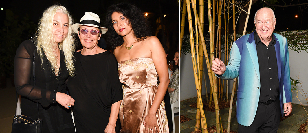 Left: Dealer Andrea Rosen, collector Mera Rubell, and producer Tanya Selvaratnam. Right: Collector Don Rubell. (Photos: Neil Rasmus/BFA)
