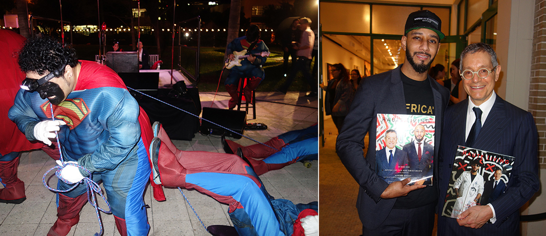 Left: Performance of William Pope.L's The Beautiful, 2015. Right: Swizz Beatz and dealer Jeffrey Deitch.