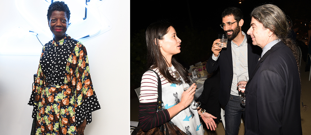 Left: Studio Museum director and chief curator Thelma Golden. Right: Artist Mai-Thu Perret, dealer David Kordansky, and artist John Armleder. (Photos: Neil Rasmus/BFA)