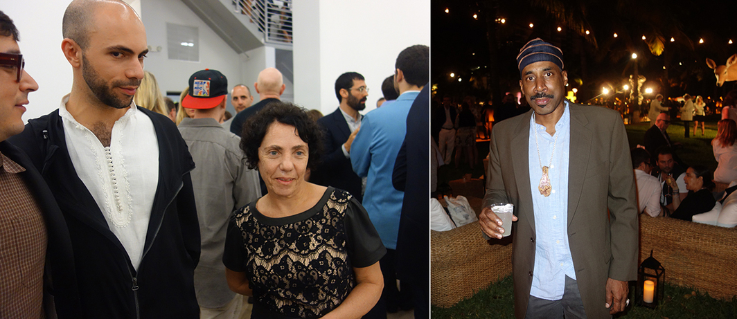 Left: Dealer Felipe Dmab and artist Solange Pessoa. Right: Artist Nari Ward.