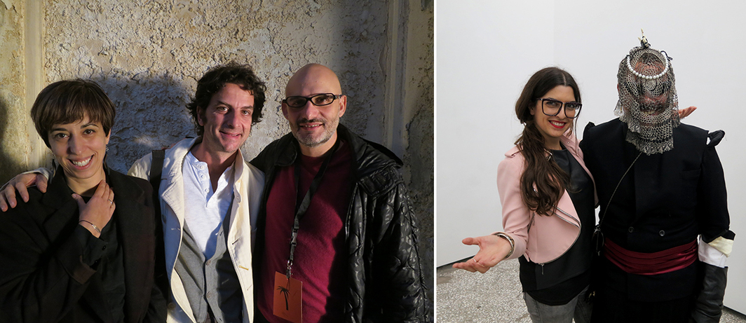 Left: Athens Biennale directors Xenia Kalpaktsoglou, Massimiliano Mollona, and Poka Yio. Right: Breeder director Nadia Gerazouni and artist Thanos Kyriakides.