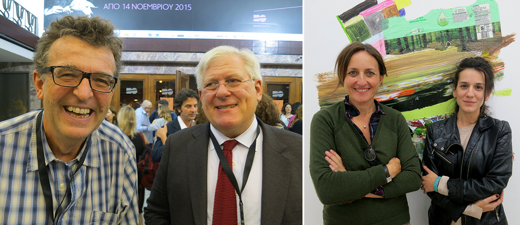 Left: Ugo Mattei and Robert Meister. Right: Dealers Rebecca Camhi and Stavia Grimani.