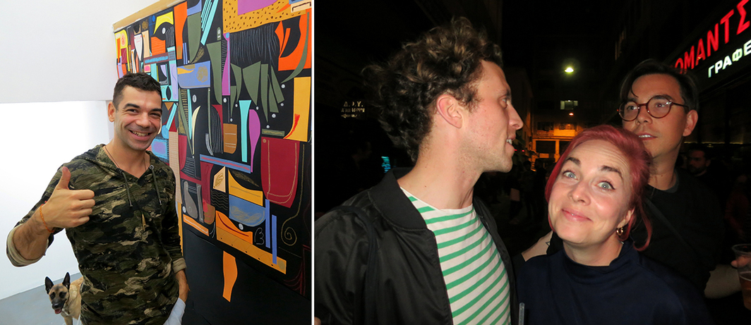 Left: Artist Antonakis at Rebecca Camhi gallery. Right: Curator Pádraic Moore, artist Navine Khan-Dossos, and writer James Bridle.