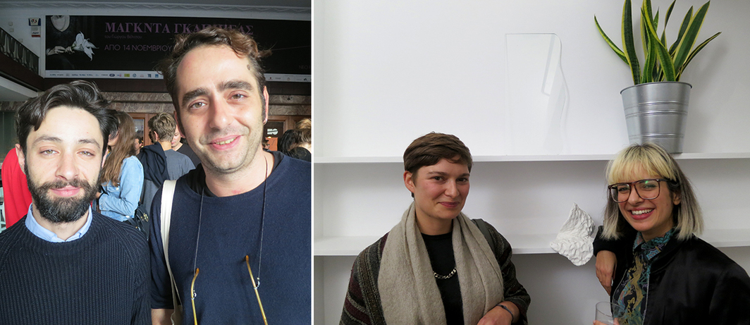 Left: Curator Michelangelo Corsaro and artist Theodoris Prodromidis. Right: Artists Zoë Paul and Eleni Bagaki.