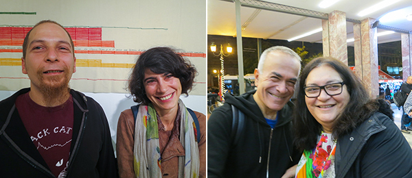 Left: Artist Vasilis Karouk and curator Galini Notti. Right: Deste's Yorgos Tzirtzilakis and artist Maria Papadimitrou.