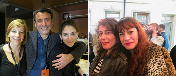 Left: Katerina Nikou, Fivos Sakalis, and Alkisti Efthymiou of Athens Biennale. Right: Artists Natasha Papadopoulou and Nana Sachini.