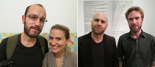 Left: Kosmas Nikolaou of 3 137 and Maria-Louiza Ouranou of Witte de With Center for Contemporary Art. Right: Artists Kostis Velonis and Petros Moris.