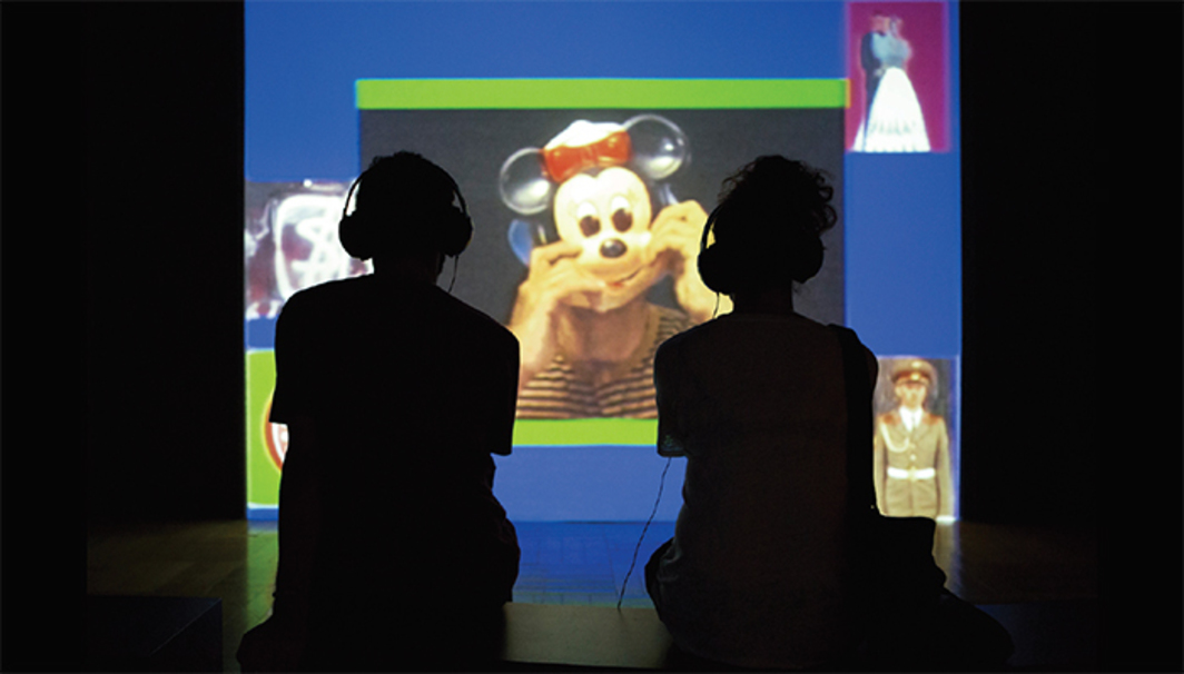 Sandra Kogut, Parabolic People, 1991, video, color, sound, 40 minutes 42 seconds. Installation view.