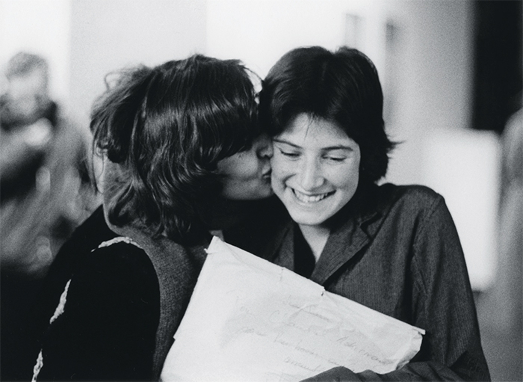 Chantal Akerman with assistant director Marilyn Watelet after the US debut of Jeanne Dielman, 23, quai du Commerce, 1080 Bruxelles, 1975, Museum of Modern Art, New York, 1976. Photo: Babette Mangolte.