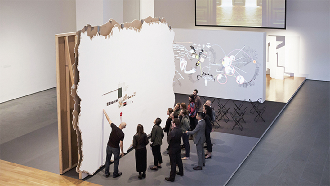 Walid Raad, Scratching on things I could disavow: Walkthrough, 2007–. Performance view, Museum of Modern Art, New York, October 5, 2015. Photo: Julieta Cervantes.