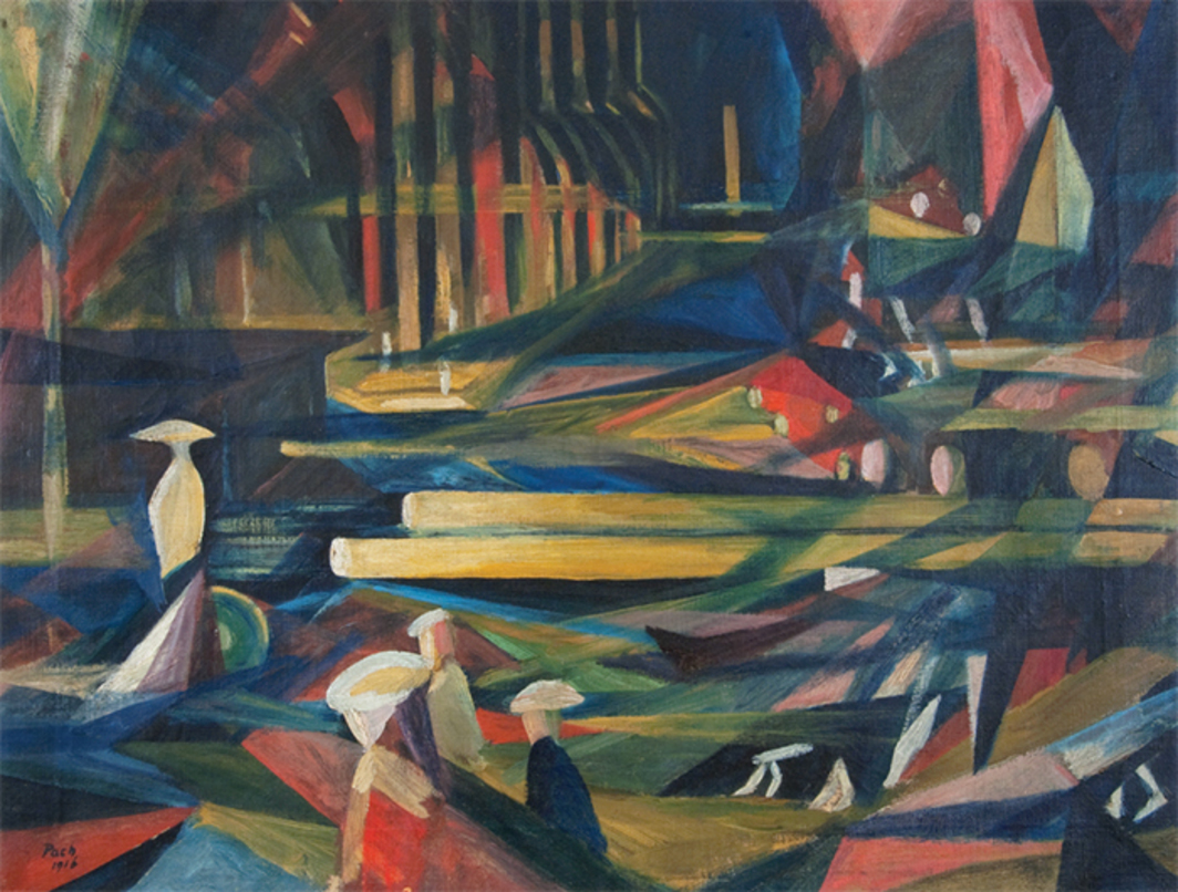 "Walter Pach, Sunday Night (St. Patrick's at Night), 1916, oil on canvas, 18 × 23 3/4""."