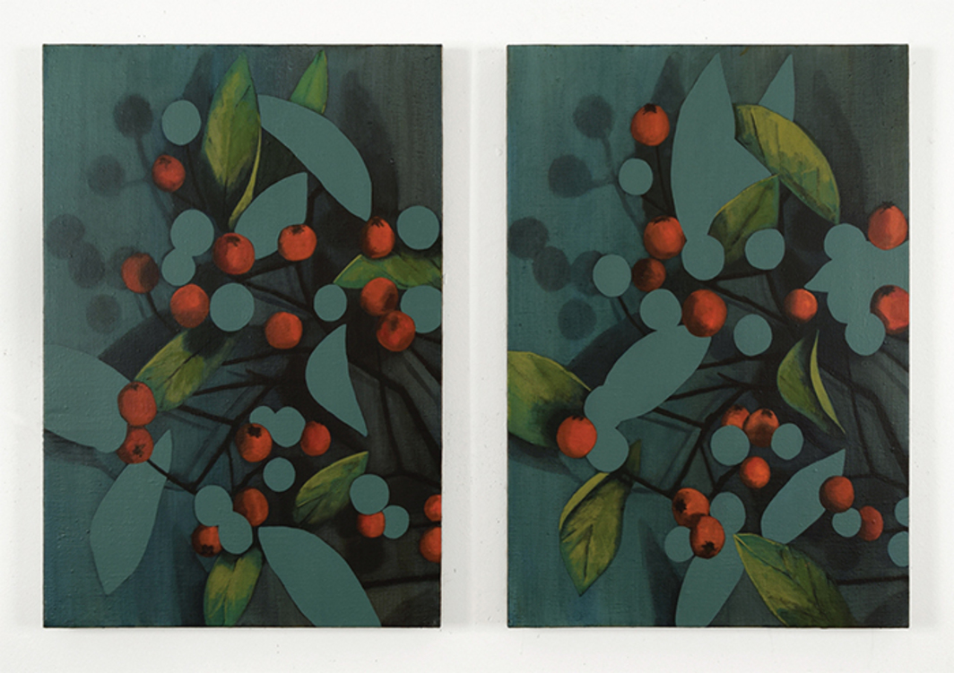 "Ryan Mrozowski, Pair (Indeterminate Fruit), 2015, two parts, acrylic on linen, each 23 × 16""."