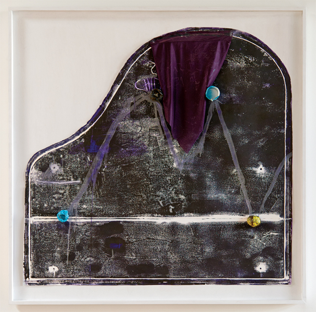 "Jessica Jackson Hutchins, Untitled (Piano Print, M), 2010, oil-based ink, ceramic, textile, found object, 54 × 55 × 2 1/2""."