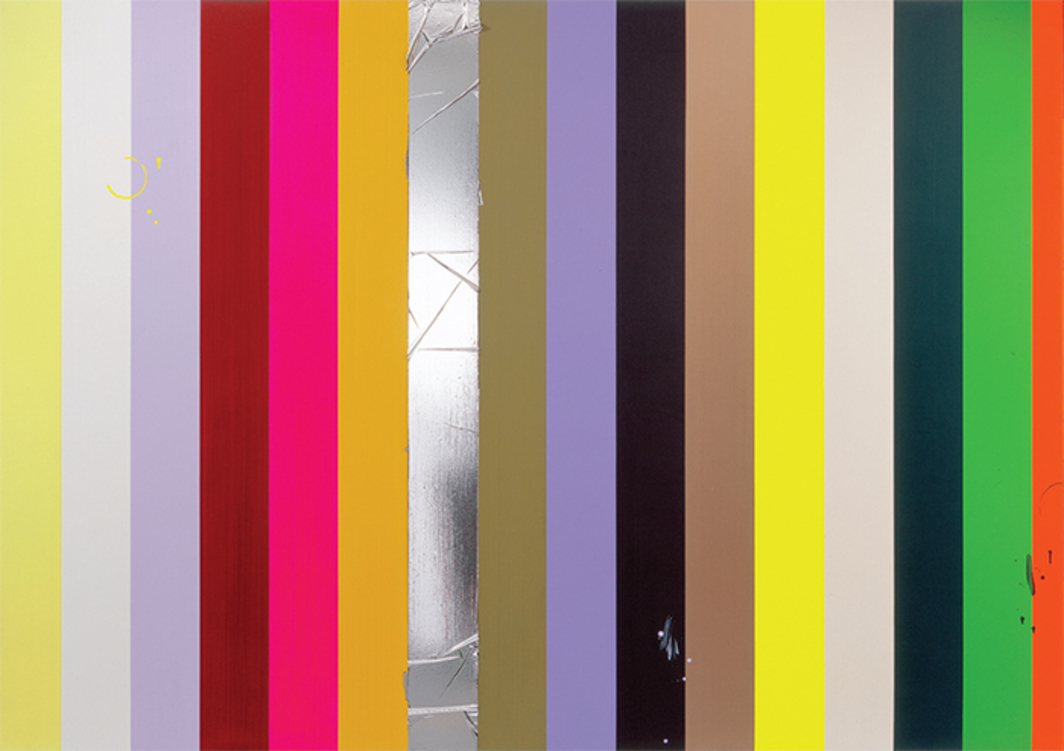 "Anselm Reyle, Untitled, 2004, mixed media on canvas, 7' 5 1/4"" × 10' 10 3/4""."