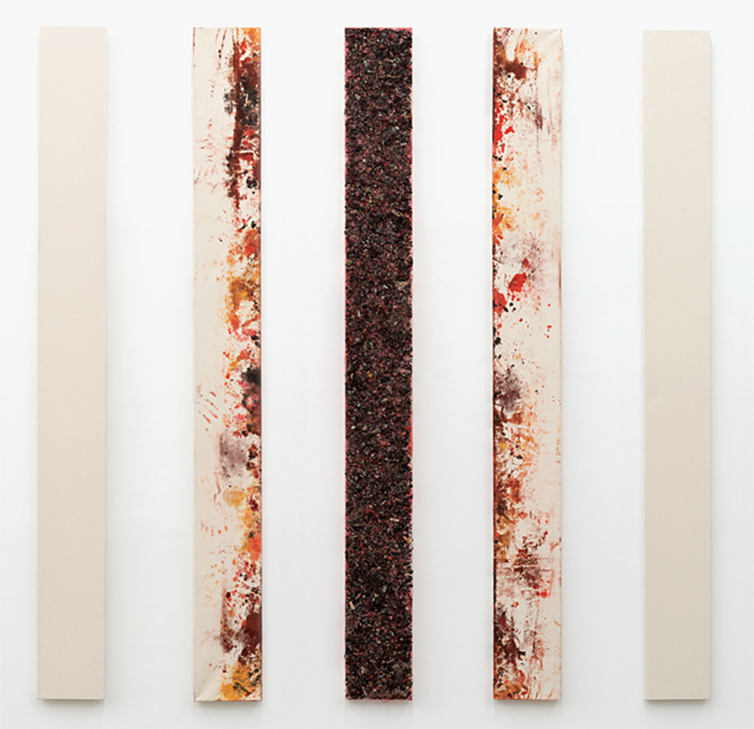 "Graham Wilson, A.O. #27 (90 sq ""Fire""), 2015, oil, pigment, charcoal, and paint scrapings on canvas, 90 × 90"". From the five-part suite Natural Motion, 2015."