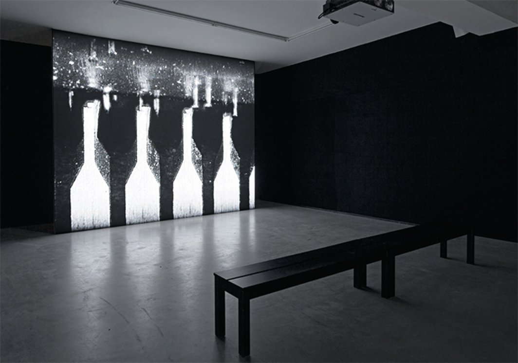 Jonas Dahlberg, Music Box, 2015, video, black-and-white, sound, 26 minutes 55 seconds. Installation view.