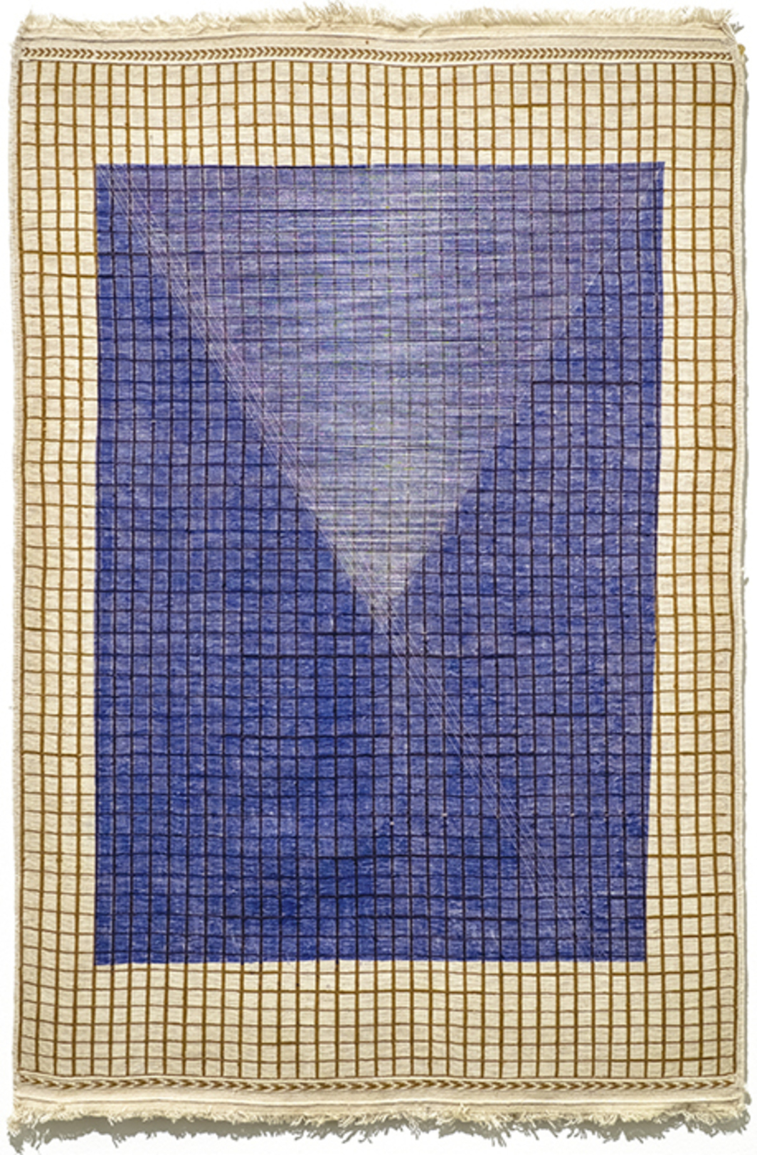 "Haleh Redjaian, Untitled, 2015, lithograph and thread on handwoven carpet, 43 3/4 × 27 1/2""."