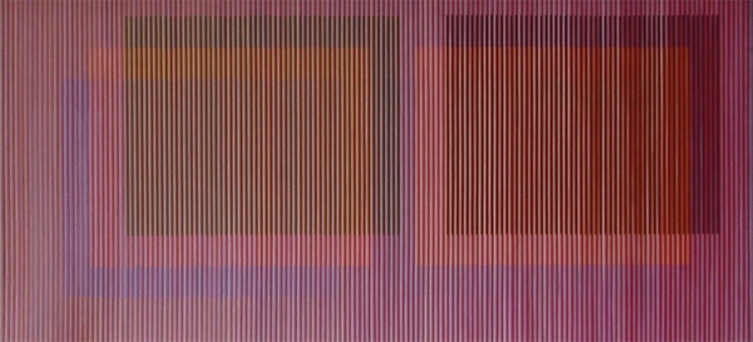 "Carlos Cruz-Diez, Physichromie 321–B (detail), 1964, triptych, plastic, cardboard, acrylic, wood, overall 2' × 11' 11 3/8"". From ""The Illusive Eye: Op Art and the Americas in the 1960s."""