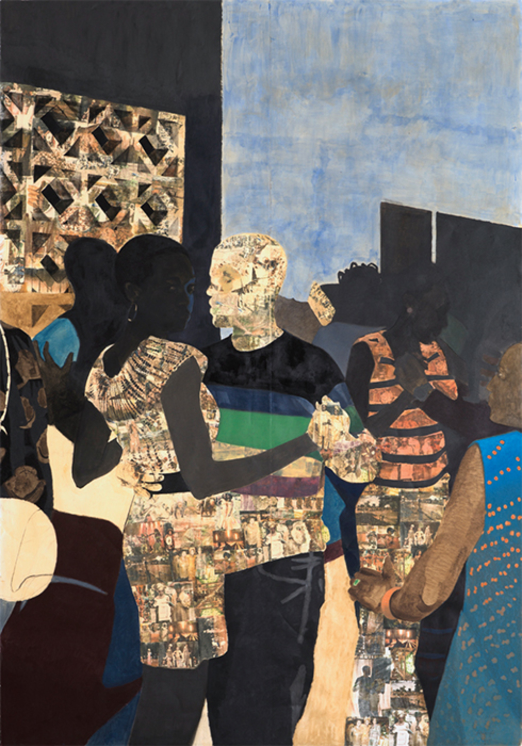 "Njideka Akunyili Crosby, I Refuse to Be Invisible, 2010, ink, charcoal, acrylic, and transfers on paper, 120 × 84""."
