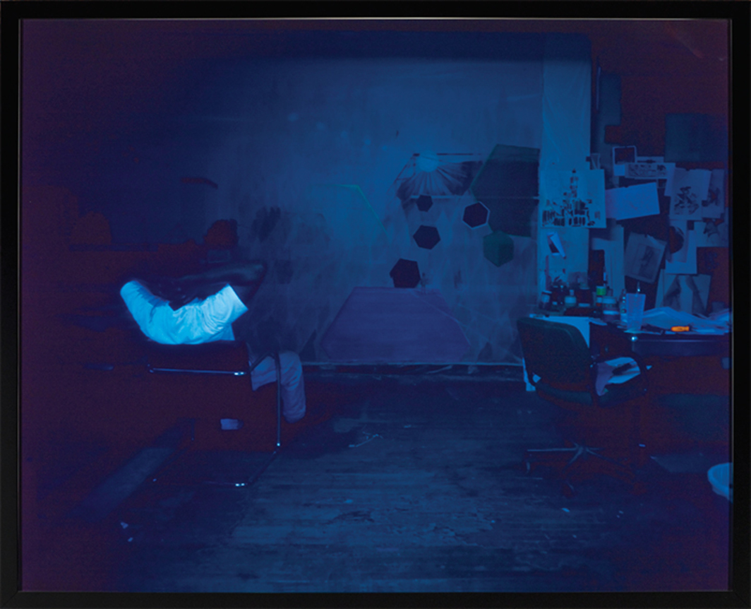 "Kerry James Marshall, Black Artist (Studio View), 2002, ink-jet print, 50 1/2 × 63""."