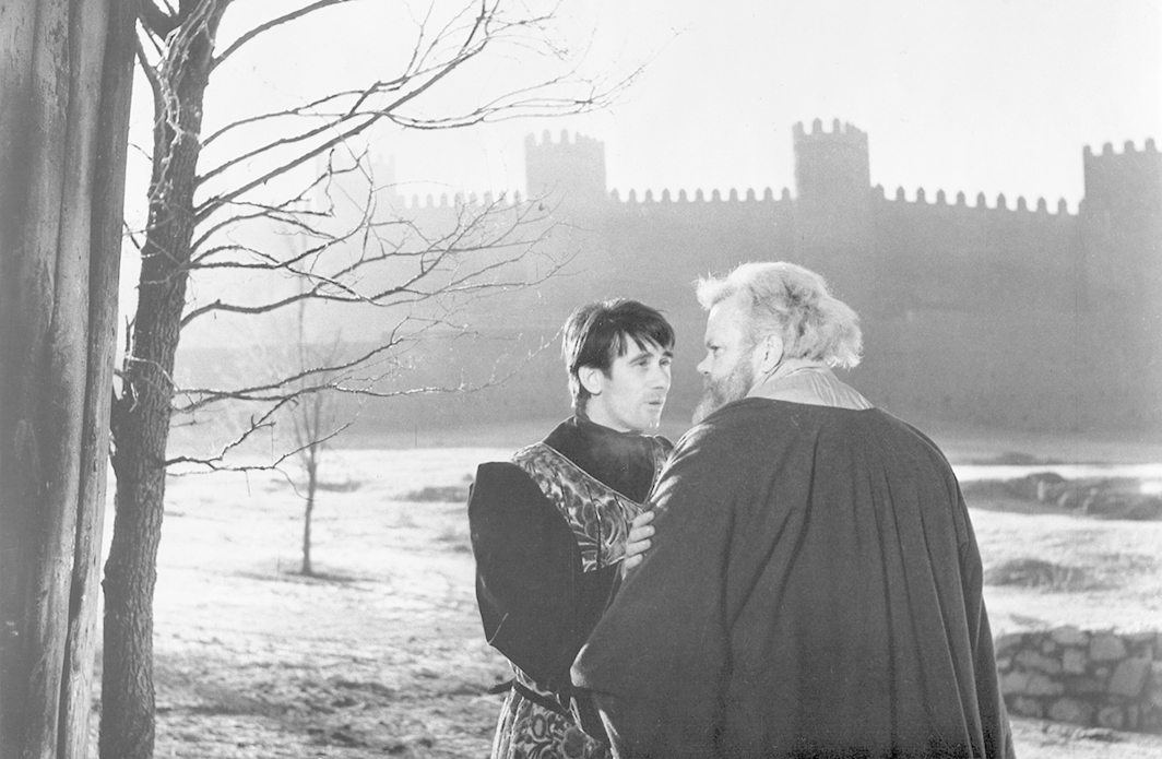 Orson Welles, Chimes at Midnight, 1965, 35 mm, black-and-white, sound, 115 minutes. Prince Hal and Falstaff (Keith Baxter and Orson Welles)