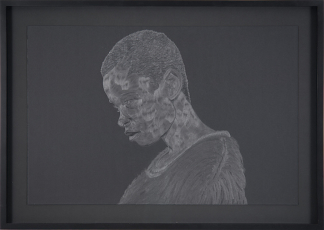 "Toyin Ojih Odutola, The Guilt of Looking, 2014, graphite pencil on black board, 20 x 30""."