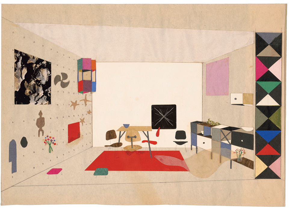 "Ray Eames, study for ""An Exhibition for Modern Living,"" 1949, graphite, paper, and photocollage on paper, 8 1/4 × 11 3/4"". © Eames Office, LLC."