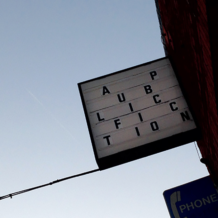 Public Fiction's storefront sign, Los Angeles, 2014.