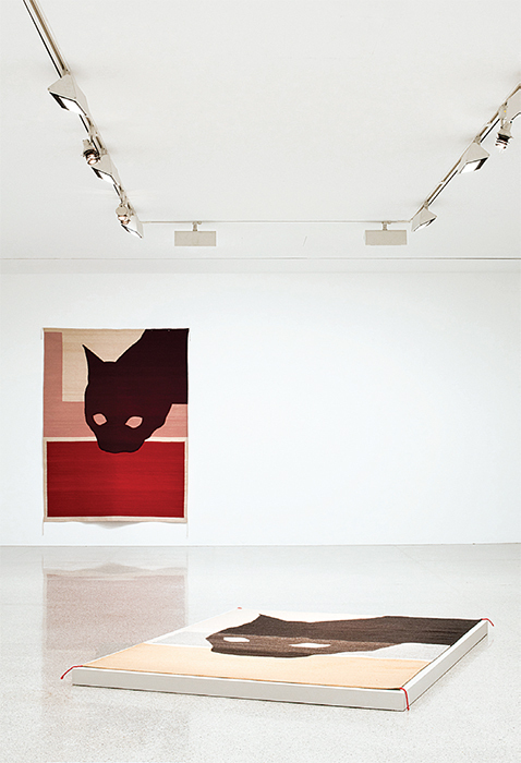 "View of ""Ulrike Müller: The old expressions are with us always and there are always others,"" 2015–16. From left: Rug (gato de cochinilla), 2015; Rug (el primer gato), 2015. Photo: Laurent Ziegler."