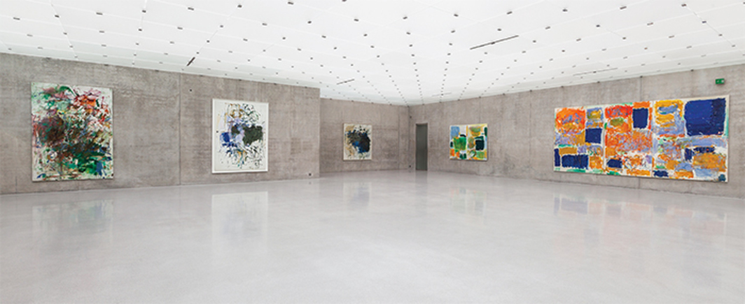 "View of ""Joan Mitchell Retrospective: Her Life and Paintings,"" 2015. From left: Bonhomme de Bois, 1961–62; Untitled, 1964; Untitled (Cheim Some Bells), 1964; The sky is blue, the grass is green, 1972 (panels reversed in installation); Closed Territory, 1973. Photo: Markus Tretter. © Joan Mitchell Foundation."