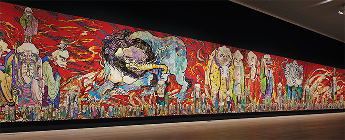 Takashi Murakami, The 500 Arhats, 2012, acrylic on canvas mounted on board. Installation view. From the White Tiger panel.