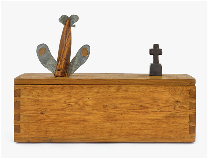 "H. C. Westermann, Untitled (Walnut Death Ship in a Chestnut Box), 1974, chestnut, walnut, zebrawood, galvanized sheet metal, copper, ebony, 17 7/8 × 24 7/8 × 8 1/2""."