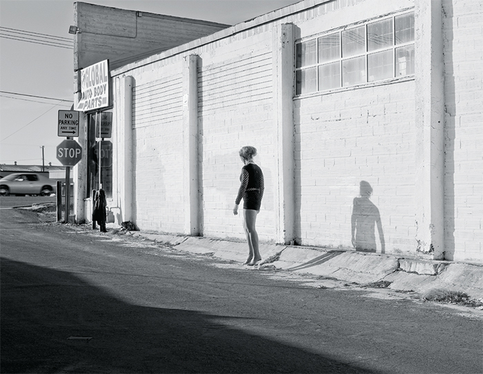 "Katy Grannan, Inessa Waits Near South 9th Street, Modesto, CA, 2012, ink-jet print, 46 1/8 × 61 1/4""."