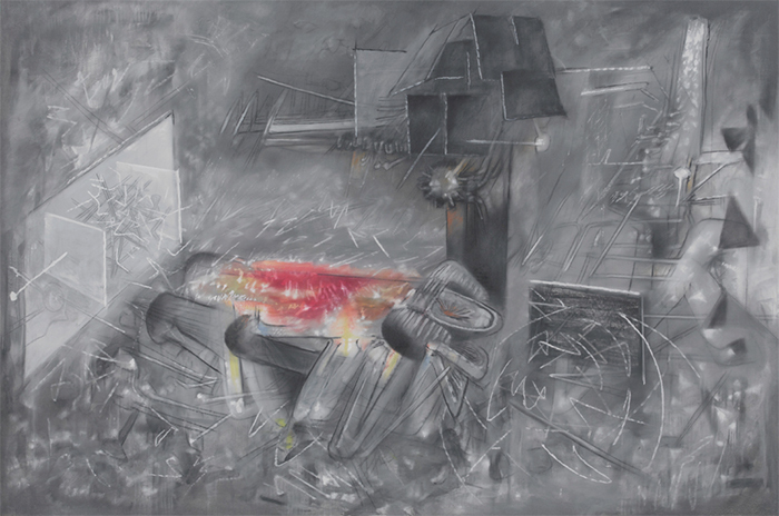 "Roberto Matta, La Question, 1957, oil on canvas, 78 3/4 × 116"". © Artist Rights Society (ARS), New York/ADAGP, Paris."