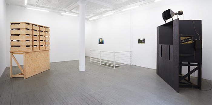 "View of ""Jason Simon,"" 2015. On floor: 2LGA5, 2015. On wall, from left: Production, 2015; Nobodys Road, 2015. Photo: Chris Austin."