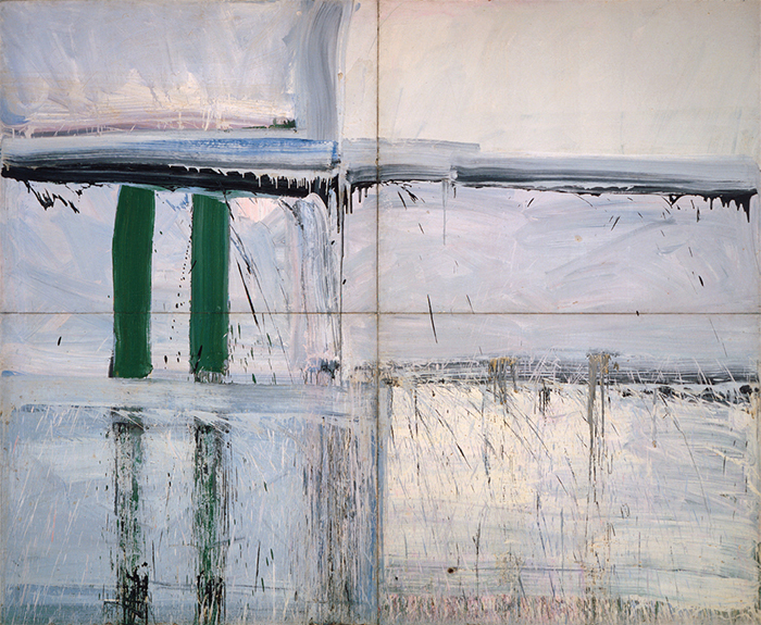 "Alfred Leslie, Four Panel Green—Big Green, 1956–57, oil on canvas, 12' × 13' 10""."