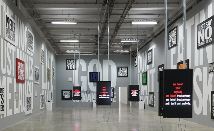 "View of ""Ugo Rondinone: I ♥ John Giorno,"" 2015–16. Photo: André Morin."