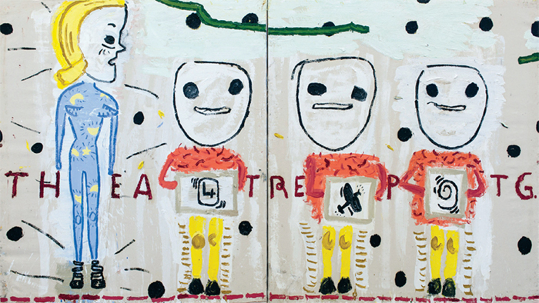 "Rose Wylie, Theatre Painting (Black Spots), 2015, diptych, oil on canvas, overall 6' × 10' 6 3/4""."