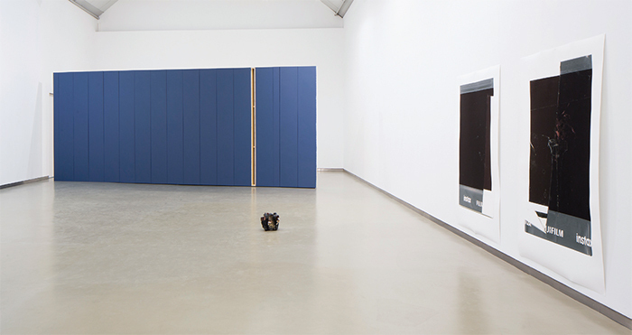 "View of ""Igor Jesus,"" 2015–16. From left: De costas voltadas (Back to Back), 2015; Domingo (Sunday), 2015; Polaroid, 2015; Polaroid, 2015. Photo: António Jorge Silva."