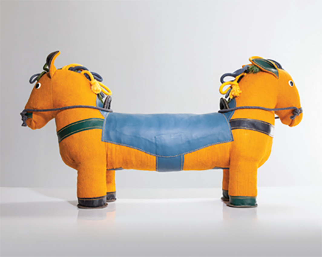 "*Renate Müller, _Therapeutic Toy Double-Face Pony_, 2015*, jute, leather, 23 5/8 × 69 × 11 7/8"". Photo: Joe Kramm."