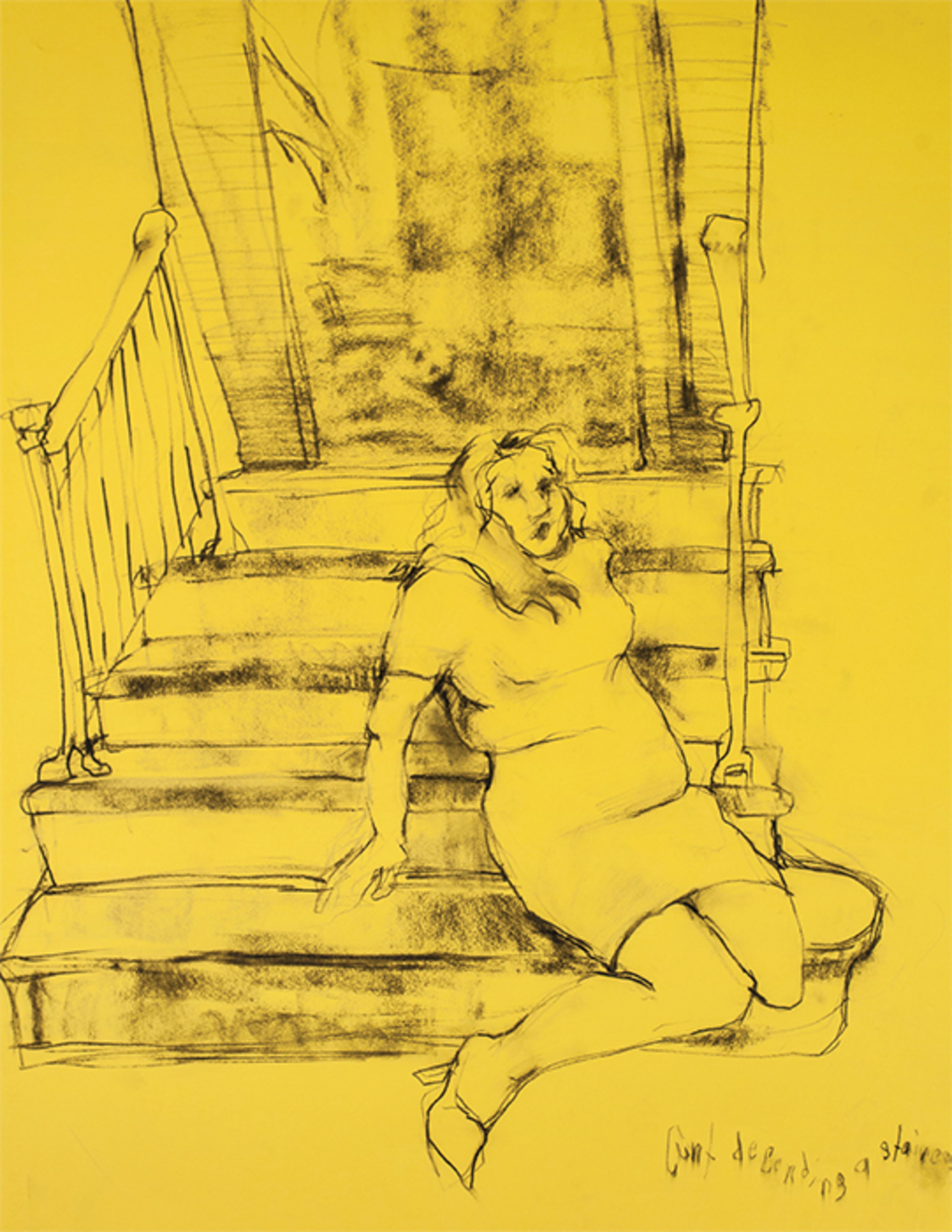 "*Alex Bag, _Cunt Descending a Staircase/NYC Prep_, 2009*, graphite on paper, 25 1/2 × 19 1/2""."