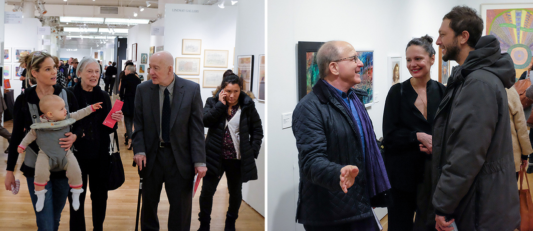 Left: Serena Altschul with Siri Von Reis and Craig Knobles at the Outsider Art Fair. Right: Critic Jerry Saltz at the Outsider Art Fair.